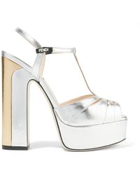 Fendi - Two-tone Metallic Leather Platform Sandals - Lyst