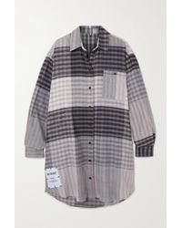 McQ Mini-robe-chemise En Flanelle De Coton À Carreaux In Dust - Bleu