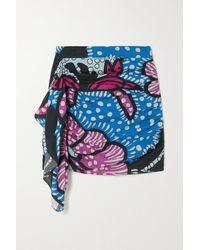 RHODE Hanna Draped Printed Cotton-voile Mini Skirt - Purple