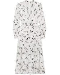 Alessandra Rich Robe Midi En Jacquard De Soie À Boutons - Blanc