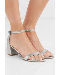 Stuart Weitzman Simple Metallic Textured-leather Sandals