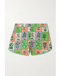 RHODE Nico Floral-print Linen-blend Shorts - Green