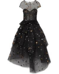 Monique Lhuillier - Asymmetric Tiered Glittered Tulle Midi Dress - Lyst