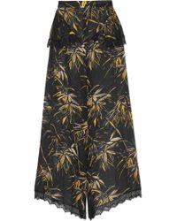 Rodarte - Lace-trimmed Printed Silk-blend Chiffon Wide-leg Trousers - Lyst