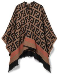 Fendi Frayed Wool And Silk-blend Jacquard Poncho - Multicolor