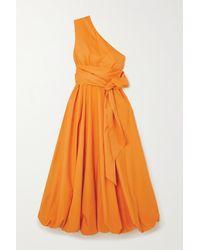 Tibi One-shoulder Belted Organic Cotton-poplin Midi Dress - Orange
