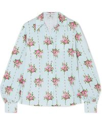 Emilia Wickstead Hemd Aus Seersucker Aus Einer Baumwollmischung Mit Blumenprint Und Eingewebten Punkten - Blau