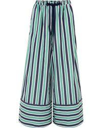 Fendi - Striped Cotton-poplin Wide-leg Pants - Lyst