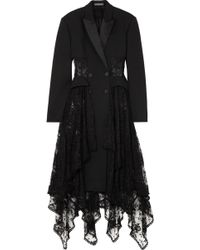 Alexander McQueen - Layered Silk-satin Trimmed Wool-blend And Lace Coat - Lyst