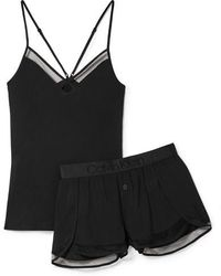 Calvin Klein - Mesh-trimmed Stretch-jersey Pajama Set - Lyst