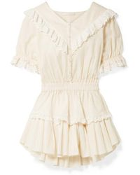 LoveShackFancy Nanette Broderie Anglaise-trimmed Striped Cotton-voile Mini Dress - Natural