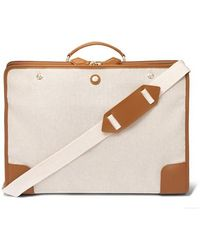Paravel Stowaway Collapsible Leather-trimmed Cotton-canvas Suitcase - Multicolour