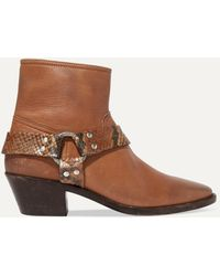 Golden Goose Deluxe Brand Bretagne Distressed Leather And Snake-effect Ankle Boots - Brown