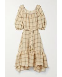Lisa Marie Fernandez + Net Sustain Laure Belted Checked Linen-blend Gauze Midi Dress - Natural