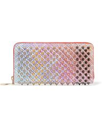 Christian Louboutin - Panettone Spiked Metallic Suede Continental Wallet - Lyst