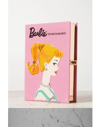 Olympia Le-Tan Barbie Embroidered Appliquéd Canvas Clutch - Pink