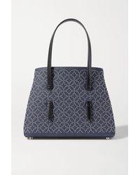 Alaïa Mina Medium Leather-trimmed Studded Denim Tote - Blue