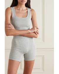 Skims Cotton Collection Ribbed Cotton-blend Jersey Boxer Shorts - Grey