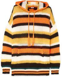 Loewe + Paula's Ibiza Hooded Striped Knitted Sweater - Orange