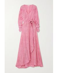 Hannah Artwear + Net Sustain Luna Maxi-wickelkleid Aus Crêpe De Chine Aus Seide Mit Paisley-print - Pink
