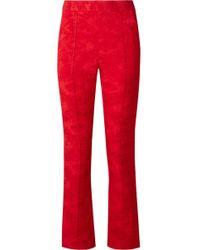 Rosie Assoulin - Oboe Satin-jacquard Slim-leg Pants - Lyst