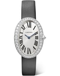 Cartier - Baignoire 24.5mm Small 18-karat White Gold, Toile Brossée And Diamond Watch - Lyst