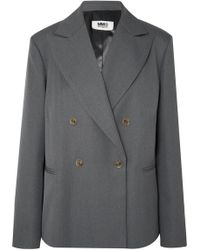 MM6 by Maison Martin Margiela - Double-breasted Twill Blazer - Lyst