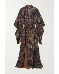 Carine Gilson Kimono En Satin De Soie À Imprimé Fleuri - Violet