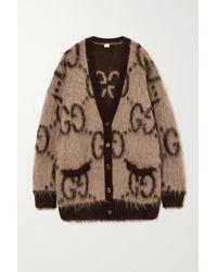 Gucci Logo-intarsia Mohair-blend Cardigan - Natural