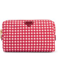 Prada - Large Leather-trimmed Gingham Canvas Cosmetics Case - Lyst