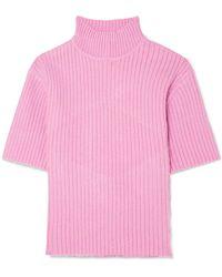 STAUD - Claudia Cutout Ribbed-knit Jumper - Lyst