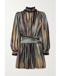 Balmain - Mini-robe En Velours Et En Lurex À Volants - Lyst