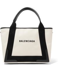 Balenciaga - Cabas Small Leather-trimmed Canvas Tote - Lyst