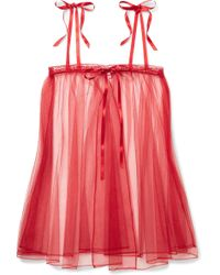 Agent Provocateur - Edita Lace-trimmed Embroidered Stretch-tulle Chemise - Lyst