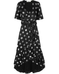 Diane von Furstenberg Sareth Kleid Aus Crêpe De Chine Aus Einer Seidenmischung Mit Fil Coupé In Wickeloptik - Schwarz