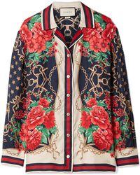 Gucci | Oversized Printed Silk-twill Shirt | Lyst