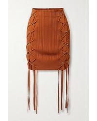 Hervé Léger Lace-up Ribbed-knit Mini Skirt - Orange
