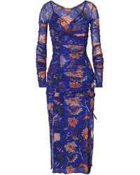 Diane von Furstenberg - Canton Ruched Floral-print Mesh And Satin Dress - Lyst