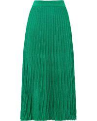 Maje - Pleated Metallic Knitted Midi Skirt - Lyst