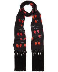 Alexander McQueen - Tasselled Printed Silk Crepe De Chine Scarf - Lyst