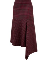 Balenciaga - Asymmetric Checked Wool Skirt - Lyst