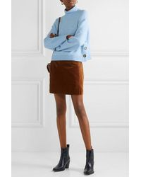 Veronica Beard Cady Button-detailed Knitted Turtleneck Sweater - Blue