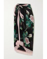 Dolce & Gabbana Pareo Aus Seidenkrepon Mit Blumenprint - Schwarz