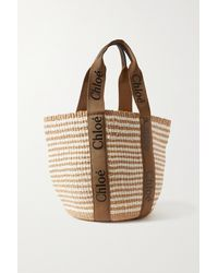 Chloé + Net Sustain Woody Large Printed Canvas And Leather-trimmed Raffia Basket Bag - Brown