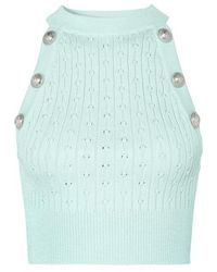 Balmain Button-embellished Cropped Ribbed Pointelle-knit Tank - Green