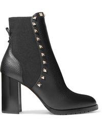Valentino Garavani Rockstud 90 Textured-leather Chelsea Boots - Black