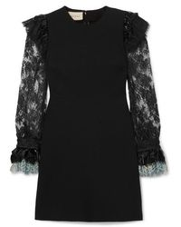 Gucci Vinyl And Lace-trimmed Cady Mini Dress - Black