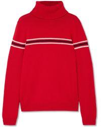 Perfect Moment - Orelle Striped Merino Wool Turtleneck Sweater - Lyst