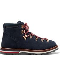 Moncler Blanche Shearling-lined Suede Ankle Boots - Blue
