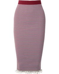 KENZO - Striped Ribbed Stretch Cotton-blend Midi Skirt - Lyst